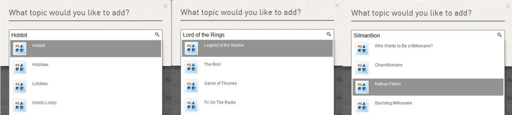 Add topic on Klout: Hobbit, Lord of the Rings, Silmarillion