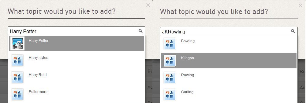 Add topic on Klout: Rowling and Harry Potter