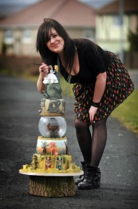 Tracey Rothwell with her Labyrinth cake