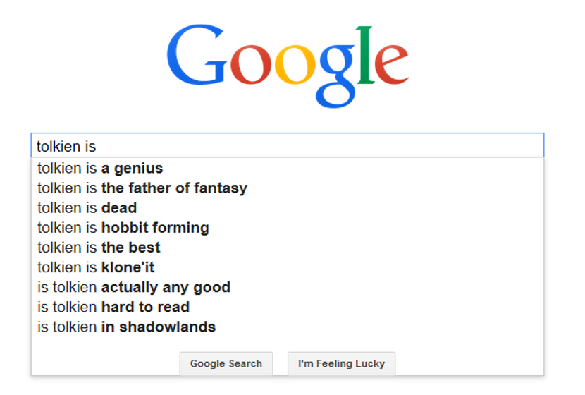 Tolkien is ... Google Autocomplete (c)